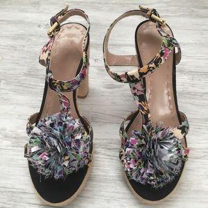 """""""Tahari"""" Floral Espadrilles Heels Sandals - 8 M"""